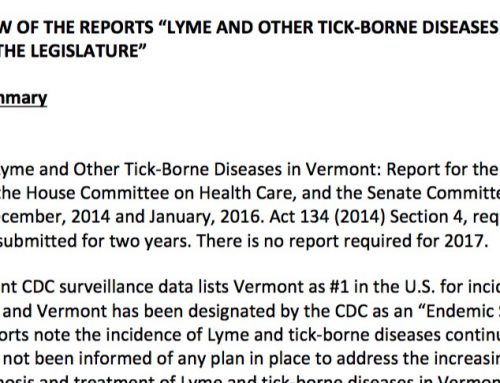 2017 Commentary on VDH Report about Lyme and Tick-borne Diseases in Vermont